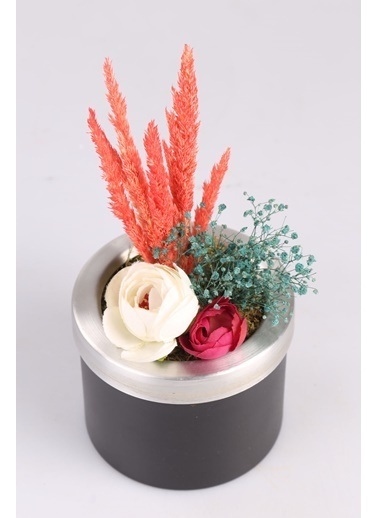 Kibrithane Çiçek Yapay Çiçek Metal Saksı Kuru Çiçek Gül Aranjman Kc00200775 Renkli